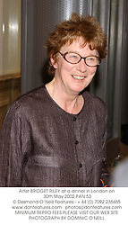 Artist BRIDGET RILEY at a dinner in London on 30th May 2002.	PAN 53