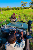 Safari vehicle, Kwando Concession, Linyanti Marshes, Botswana.