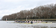 Putney, GREAT BRITAIN,  Both crews, racing along the Fulham Wall, Oxford left, during the  2010  Varsity/Oxford University  vs Leander Club, raced over the championship course. Putney to Mortlake, Sat. 20.03.2010. [Mandatory Credit, Peter Spurrier/Intersport-images]