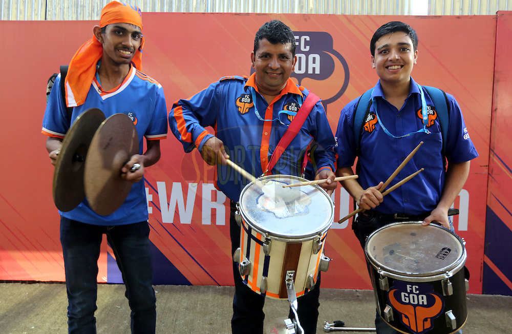 FC Goa officail drummers arrives for the match 8 of the Indian Super League (ISL) season 3 between FC Goa and FC Pune City held at the Fatorda Stadium in Goa, India on the 8th October 2016.<br /> <br /> Photo by Sandeep Shetty / ISL/ SPORTZPICS