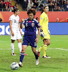 17.07.2011, Commerzbankarena, Frankfurt, GER, FIFA Women Worldcup 2011, Finale,  Japan (JPN) vs. USA (USA), im Bild:  .Torjubel / Jubel  nach dem 1:1 durch Aya Miyama (Japan) gegen Hope Solo (GK) (USA) (M) .. // during the FIFA Women Worldcup 2011, final, Japan vs USA on 2011/07/11, FIFA Frauen-WM-Stadion Frankfurt, Frankfurt, Germany.   EXPA Pictures © 2011, PhotoCredit: EXPA/ nph/  Mueller       ****** out of GER / CRO  / BEL ******