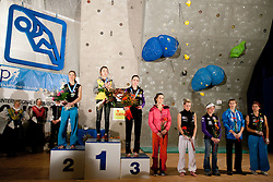 Second placed Mina Markovic of Slovenia, winner Jain Kim of Korea, third placed Katharina Posch of Austria, fourth placed Mathilde Brumagne of Belgium, fifth placed Maja Vidmar of Slovenia, sixth placed Angela Eiter of Austria, seventh placed Charlotte Durif of France and eighth placed Johanna Ernst of Austria during medal ceremony after the women final competition of IFSC Climbing World Cup Kranj 2011, on November 20, 2011 in Arena Zlato Polje, Kranj, Slovenia. (Photo By Vid Ponikvar / Sportida.com)