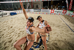 Simona Fabjan and Andreja Vodeb after the final matches of Slovenian National Championship in beach volleyball Kranj 2012, on June 30, 2012 in Kranj, Slovenia. (Photo by Vid Ponikvar / Sportida.com)