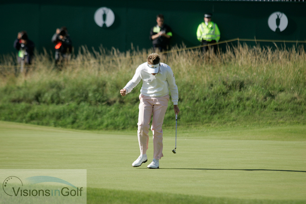 Ian Poulter sinks his putt on the 18th final round of the Open Championship 2008<br /> Photo credit:  Mark Newcombe / www.visionsingolf.com