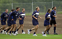 Rangers pre season training at new Auchenhowie complex on outskirts of Glasgow.<br />Pic Ian Stewart, DIGITALSPORT June 26th. 2001<br />Tore Andre Flo trains behind Rangers new signing Claudio Canniggia and Lorenzo Amoruso today, with Jesper Christiansen and Artur Numan behind
