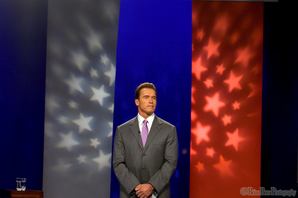Governor Arnold Schwarzenegger's holds a town hall meeting about the Special Election initiatives inside the KCRA TV studios, Wednesday Nov. 2, 2005.