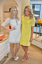 Left to right, ASHLEY JAMES and OLIVIA COX at a Hello! magazine and Folli Follie shopping evening at Folli Follie, 493 Oxford Street, London on 25th August 2016.
