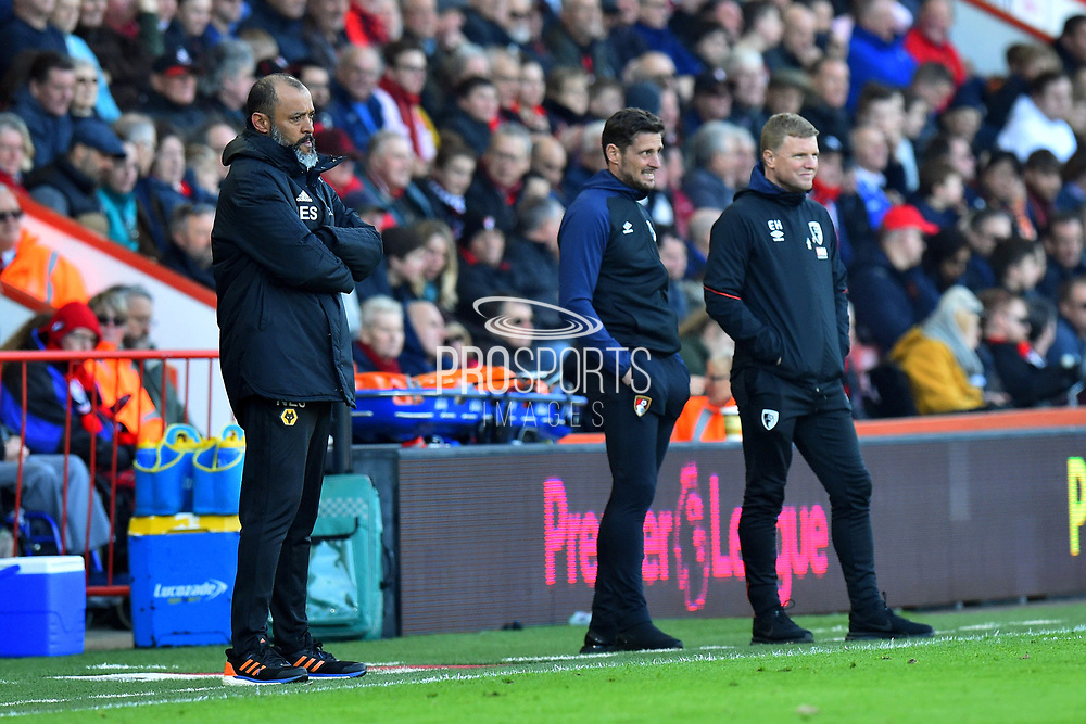 Wolverhampton Wanderers manager Nuno Espirito Santo in the technical area next to Bournemouth assistant manager Jason Tindall and AFC Bournemouth manager Eddie Howe during the Premier League match between Bournemouth and Wolverhampton Wanderers at the Vitality Stadium, Bournemouth, England on 23 February 2019.