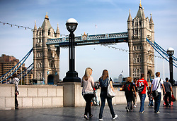 UK ENGLAND LONDON 22SEP10 - Pedestrians walk in front of Tower Bridge on the South Bank, central London...jre/Photo by Jiri Rezac..© Jiri Rezac 2010