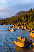 Lake Tahoe sunset at the famous Whale Beach near Incline Village, Nev., USA.