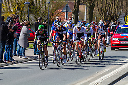 Sean De Bie (Lotto-Soudal), Grégory Rast (Trek Factory Racing), Alexis Gougéard (AG2R-La Mondiale), Aleksejs Saramotins (IAM Cycling), Pierre-Luc Périchon (Bretagne-Séché Environnement), Adam Blythe (Orica-GreenEdge), Tim Declercq (Topsport Vlaanderen-Baloise), Ralf Matzka (Bora-Argon 18) and Frederik Backaert (Wanty-Groupe Gobert), Saint-Quentin, France, Paris-Roubaix, UCI WorldTour, France, 12 April 2015, Photo by Thomas van Bracht / PelotonPhotos.com
