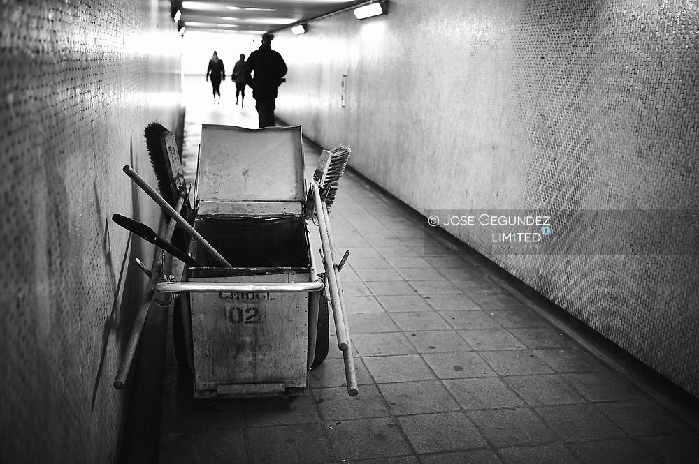 A sweeper bucket in a tunnel near Trafalgar Square