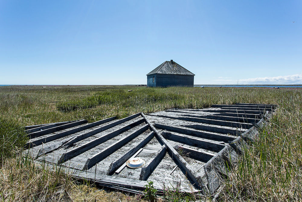 Canada, Manitoba, Destroyed remains of abandoned Hudson Bay trading post at Egg Island