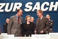 10 APR 2000, ESSEN/GERMANY:<br /> Friedrich Merz, CDU, CDU/CSU Fraktionsvorsitzender, Angela Merkel, CDU Bundesvorsitzende, und Ruprecht Polenz, CDU Generalsekret&auml;r, die neue F&uuml;hrungsspitze der CDU, CDU Bundesparteitag, Grugarhalle, Essen <br /> Friedrich Merz, CDU, Chairman of the CDU/CSU parliamentary group, Angela Merkel, Chairwoman of the Christian Democratic Party, and Ruprecht Polenz, General Secretary of the CDU, CDU party congress<br /> IMAGE: 20000410-01/12-06<br /> KEYWORDS: Parteitag
