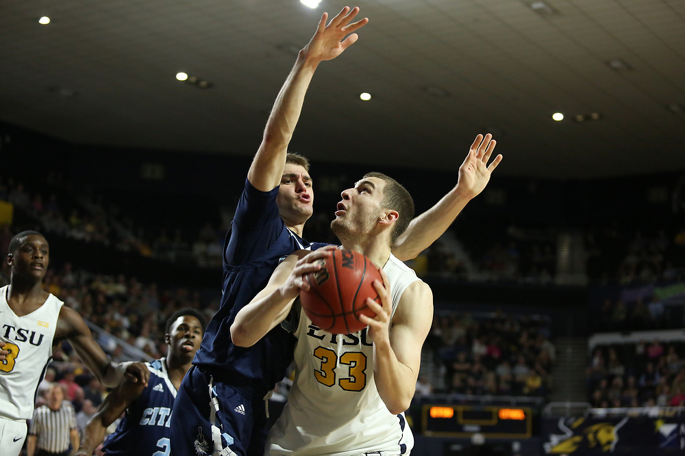 February 20, 2018 - Johnson City, Tennessee - Freedom Hall: ETSU forward Mladen Armus (33)<br /> <br /> Image Credit: Dakota Hamilton/ETSU
