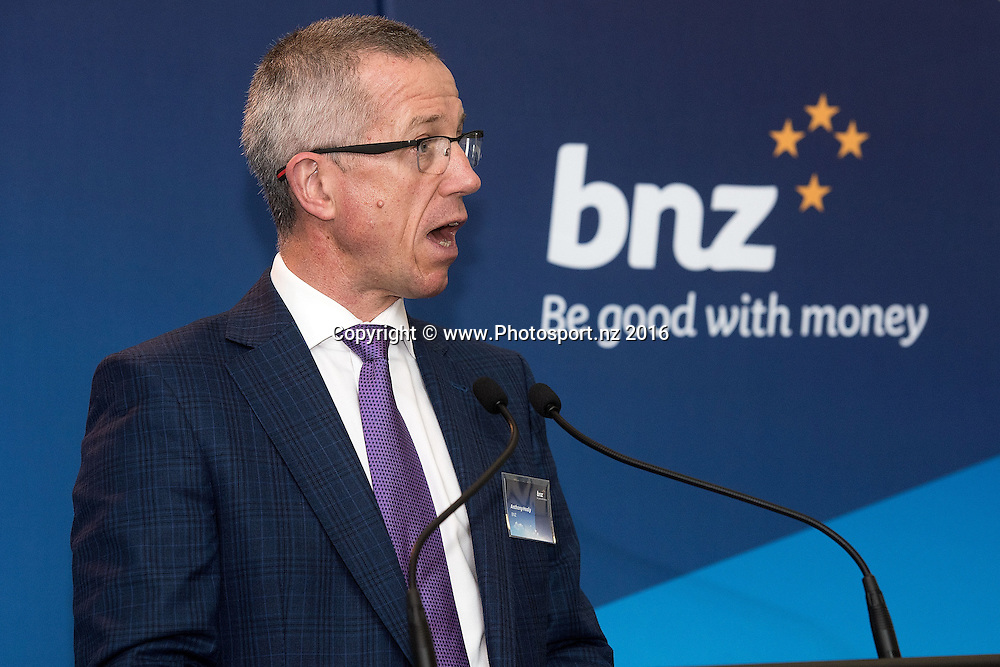 Anthony Healy BNZ CEO speaks to guests during the BNZ Community Finance Initiative Announcement at the BNZ building in Wellington on Wednesday the 12th of October 2016. Copyright Photo by Marty Melville / www.Photosport.nz