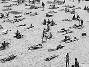 "Tamarama Beach, Sydney, Australia. Note the large doormat in the top RH corner - it is part of the annual month long ""Sculpture by the Sea"" which is displayed on and between some of Sydney's famous beaches.<br /> Image made on a small digital camera with pixellation exaggerated for effect"