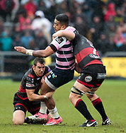 Cardiff Blues' Rey Lee-Lo is tackled by Dragons' Adam Warren and Aaron Wainwright<br /> <br /> Photographer Simon King/Replay Images<br /> <br /> Guinness Pro14 Round 11 - Dragons v Cardiff Blues - Tuesday 26th December 2017 - Rodney Parade - Newport<br /> <br /> World Copyright &copy; 2017 Replay Images. All rights reserved. info@replayimages.co.uk - www.replayimages.co.uk