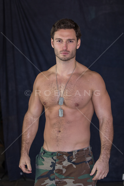 sexy shirtless army man
