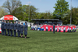 NEWTOWN, WALES - Sunday, May 6, 2018:  RAF Cadets on the pitch before the FAW Welsh Cup Final between Aberystwyth Town and Connahs Quay Nomads at Latham Park. (Pic by Paul Greenwood/Propaganda) David Griffiths, Ryan Giggs, Jonathan Ford