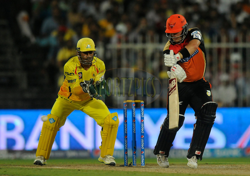 Aaron Finch of the Sunrisers Hyderabad bats during match 16 of the Pepsi Indian Premier League 2014 between the Delhi Daredevils and the Mumbai Indians held at the Sharjah Cricket Stadium, Sharjah, United Arab Emirates on the 27th April 2014<br /> <br /> Photo by Pal Pillai / IPL / SPORTZPICS
