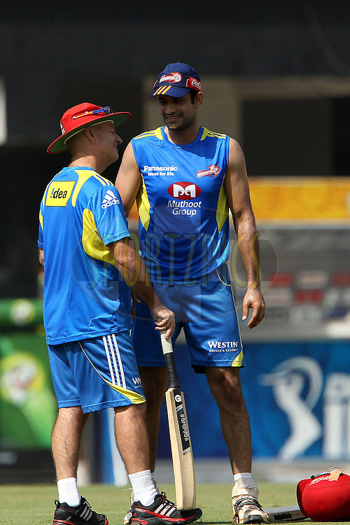Greg Shipperd and Irfan Pathan during the Delhi Daredevils practice session held at the MA Chidambaram Stadium in Chennai, Tamil Nadu, India on the 11th May 2011..Photo by Ron Gaunt/BCCI/SPORTZPICS