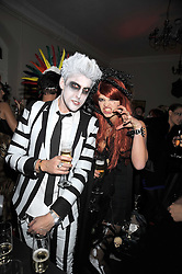 PIXIE GELDOF and HENRY HOLLAND at a Halloween party hosted by Alexa Chung and Browns Focus held at the House of St.Barnabas, 1 Greek Street, London on 31st October 2008.