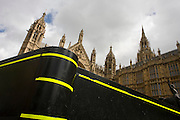 Solid security barrier under the Palace of Westminster in central London.