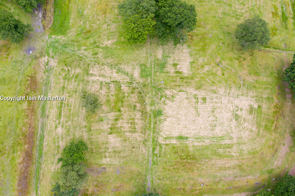 Aerial view of Rough Castle fort location Roman Antonine Wall at Rough Castle, Central Region, Scotland, UK
