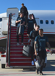 MADRID, SPAIN - Wednesday, May 29, 2019: Tottenham Hotspur's Toby Alderweireld and goalkeeper Michel Vorm arrives at the Adolfo Suarez Madrid-Barajas Airport ahead of the UEFA Champions League Final between Tottenham Hotspur FC and Liverpool FC. (Pic by Denis Doyle/UEFA)