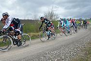 10 A Strade Bianche,a sinistra  Fabian Cancellara e Gianni Moscon, Siena 5 marzo 2016 © foto Daniele Mosna