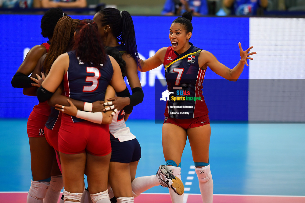 BANGKOK, THAILAND - MAY 30: Niverka Dharlenis Marte Frica #7 (c) of Dominican Republic reaction on Day 2 match between Dominican Republic vs USA at the FIVB Volleyball Nation League 2018, Indoor Stadium Huamark, Bangkok, Thailand on May 30, 2018. <br /> .<br /> .<br /> .<br /> (Photo by: Naratip Golf Srisupab/SEALs Sports Images)<br /> .<br /> Any image use must include a mandatory credit line adjacent to the content which should read: Naratip Golf Srisupab/SEALs Sports Images