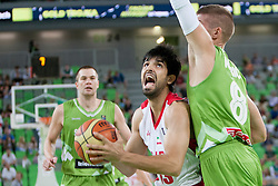 Mohammad Jamshidi of Iran and Edo Muric of Slovenia during basketball match in the context of Telemach tournament between National Teams of Slovenia and Iran on August 21, 2014 in SRC Stozice, Ljubljana, Slovenia. Photo by Urban Urbanc / Sportida.com