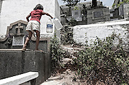 In the cemetery there are no sewerage or piped water. All members of the families residing within the cemetery search for water together. <br />