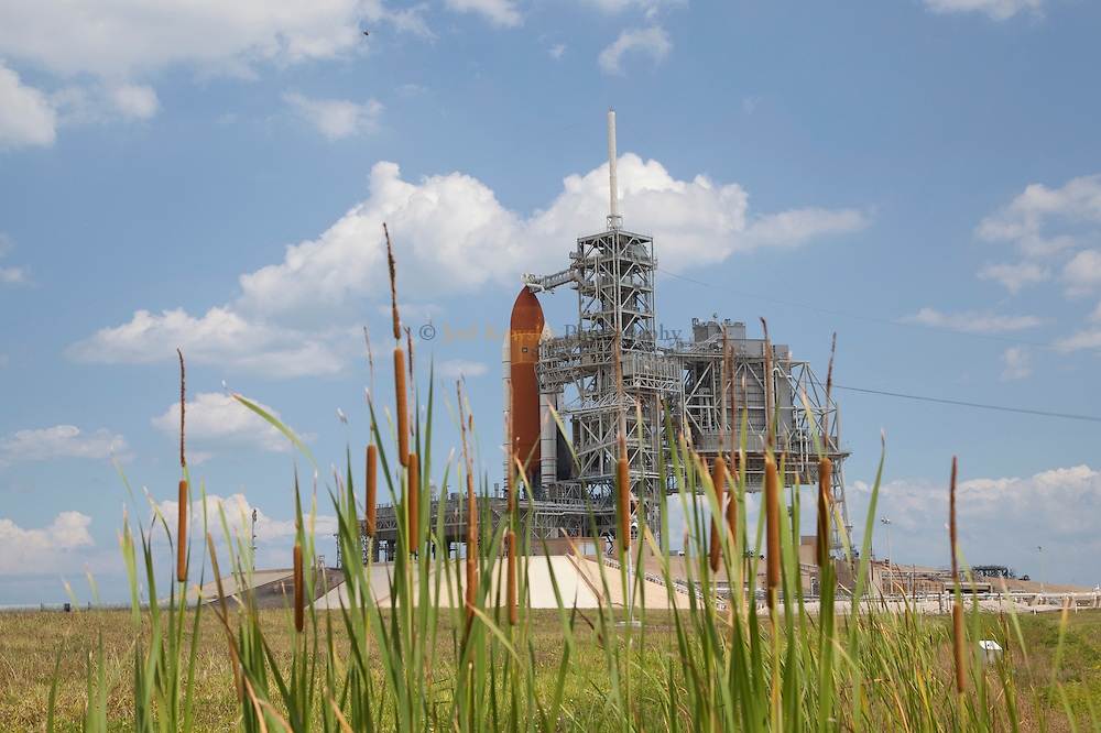 Cape Canaveral, Florida US - Space shuttle Endeavour sits on pad 39A at NASA's Kennedy Space Center in Florida as the Retractible Service Structure is rolled back on Sunday, May 15, 2011.  Endeavour is set to rocket into space on the shuttle programs penultimate mission at 8:56 AM(EDT) on Monday, May 16, 2011. (Joel Kowsky/ZUMA Press)