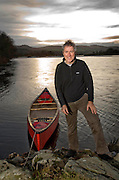 .Photographs by Alan Peebles..Griff Rhys Jones filming on the River Tay in Perthshire, near Kinnaird Estate
