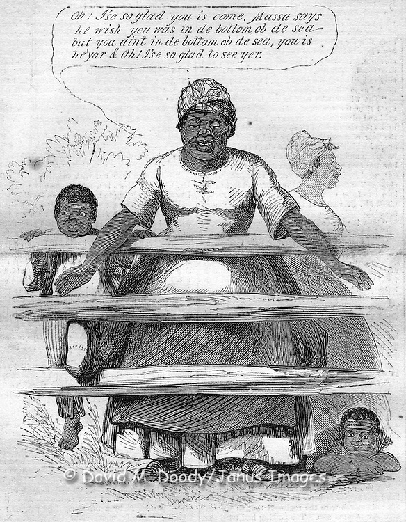 "Vintage Illustration, 1862: American Civil War,  slave woman cartoon- ""Oh I'se so glad to see you is come. Massa says he wish you was in de bottom ob de sea- but you aint in de bottom ob de sea, you is he'yar & Oh! I'se so glad to see yer."" Remarking to invading Union troops."