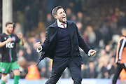 Bristol City manager, Lee Johnson happy with the win during the Sky Bet Championship match between Fulham and Bristol City at Craven Cottage, London, England on 12 March 2016. Photo by Matthew Redman.