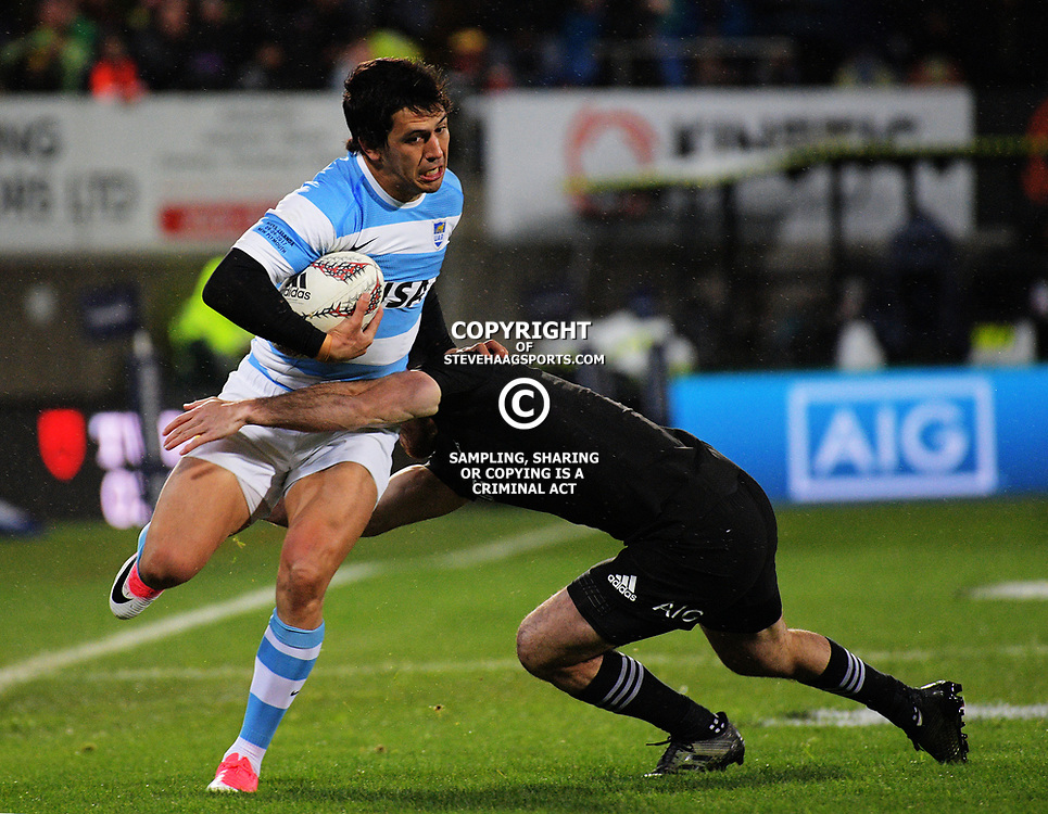 Matias Moroni is tackled during the Rugby Championship match between the NZ All Blacks and Argentina Pumas at Yarrow Stadium in New Plymouth, New Zealand on Saturday, 9 September 2017. Photo: Dave Lintott / lintottphoto.co.nz