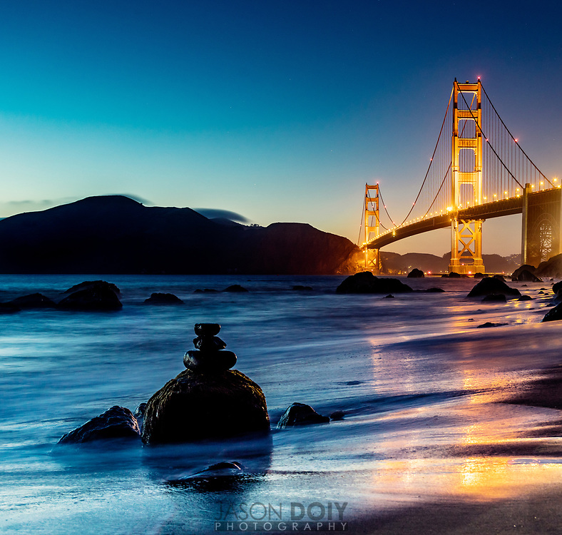 Looking North towards the Marin Headlands at Golden Gate Bride in San Francisco's Marshall Beach.