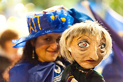 30/09/2017. Manchester, UK. A protester holds an effigy of Theresa May. Anti-Brexit, protesters gather outside the conference centre Manchester UK. and make their voice heard by performing satirical cabaret on the eve of the Tory Party Conference. Photo credit: Graham M. Lawrence/LNP