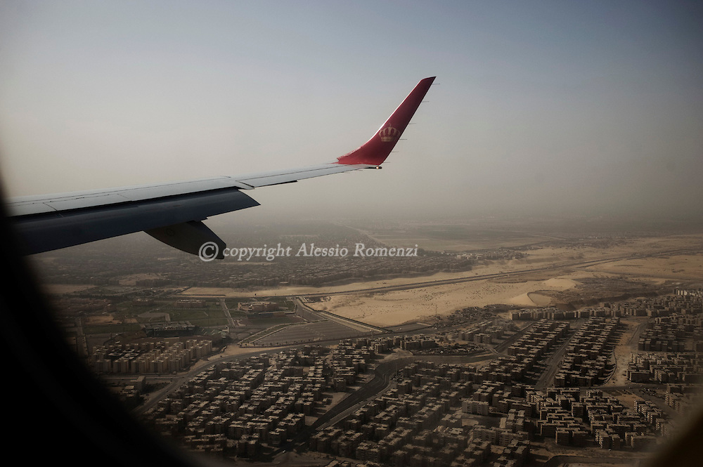 Egypt, Cairo. Outskirts of Cairo viewed from an airplane on February 23, 2011. ALESSIO ROMENZI
