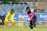 Katey Martin hits down the ground. Women's T20 international Cricket, Australia v New Zealand White Ferns.  Manuka Oval, Canberra, 5 October 2018. Copyright Image: David Neilson / www.photosport.nz