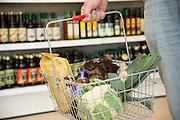 Einkaufskorb in Bio-Supermarkt, Hessen, Deutschland | shoppimg basket in supermarket, Hesse, Germany