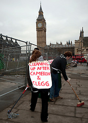 © Under license to London News pictures. 10/12/2010 Cleaning operation started in Parliement square parliament square today (10/12/2010) following student demonstrations. Students clashed with police and vandalised memorials and bulildings in parliament square around Westminster. Photo credit should read Fuat Akyuz/London News Pictures...