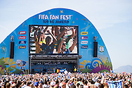 Crowds pack the FIFA Fan Fest, Rio de Janeiro, during the Argentina v Belgium World Cup quarter final match which was shown on big screens.<br /> Picture by Andrew Tobin/Focus Images Ltd +44 7710 761829<br /> 05/07/2014