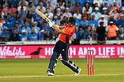England win - David Willey of England scores the winning run to beat India during the International T20 match between England and India at the SWALEC Stadium, Cardiff, United Kingdom on 6 July 2018. Picture by Graham Hunt.