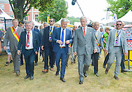 King Philippe of Belgium gives the start of the 4th stage of the Tour de France ( Seraing - Cambrai ) Seraing , July 7, 2015, Belgium<br /> Pics: King Philippe and Didier Reynders Foreign Minister