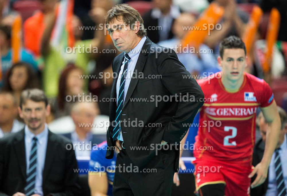 Laurent Tillie, head coach of France during volleyball match between National teams of France and Bulgaria in 2nd Semifinal of 2015 CEV Volleyball European Championship - Men, on October 17, 2015 in Arena Armeec, Sofia, Bulgaria. Photo by Vid Ponikvar / Sportida