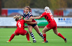 Lucy Atwood of Bristol Bears Women is tackled by Saracens Women - Mandatory by-line: Paul Knight/JMP - 03/11/2018 - RUGBY - Shaftesbury Park - Bristol, England - Bristol Bears Women v Saracens Women - Tyrrells Premier 15s